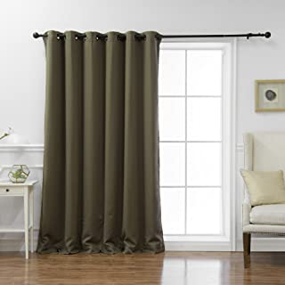 Best Home Fashion Wide Width Thermal Insulated Blackout Curtain - Antique Bronze Grommet Top - Olive - 80