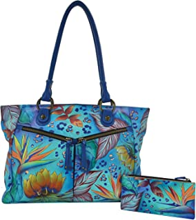 Anuschka Handpainted Leather Large Shopper with Front Pockets-Tropical Dream