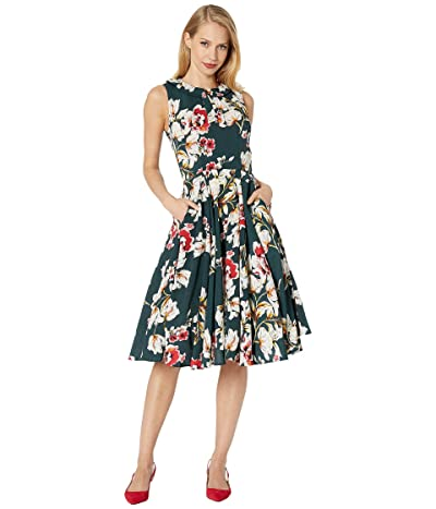 Unique Vintage 1940s Floral Olson Swing Dress (Hunter Green Floral) Women
