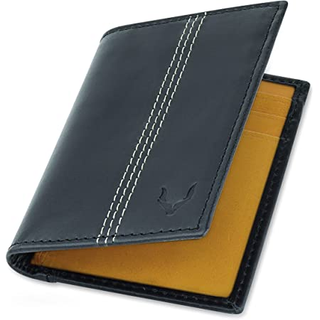 Pelle Toro Minifold Leather Credit Card Holder Wallet for Men, Thin RFID Blocking Contactless Card Protector, Handmade Minimalist Slim Mens Card Wallet in Mens Gift Box, Black Tan Wallet