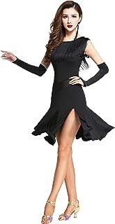 ZX Women's Tassel Round Neck Sleeveless Split Leg Latin Dance Dress Costumes with Shorts