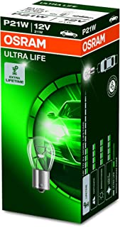 Osram ULTRA LIFE P21W, Halogen Signallampe, Bremslicht, Nebenschlussleuchte, 7506ULT, 12V PKW, Faltschachtel (10 Stück)