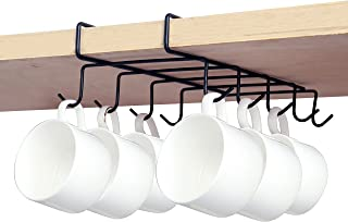 MyGift Under Shelf 10 Hook Coffee Cup Holder, Metal Teacup Storage Drying Rack, Black