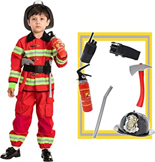 Red Firefighter Costume for Kids, Boys Fireman Outfit for Child Role Playing, Halloween Trick-or-Treating, Pretend Play