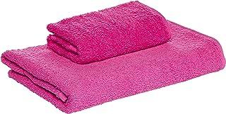 Princess 100% Cotton Terry Bath & Hand Towel Set -500gsm,Quick-Dry, Highly Absorbent, Soft, Fuschia Color, 2pcs Set