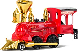 Power Steam Engine Classic Loco Model Metal Die Cast Train Red Gold Silver