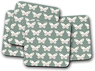 Posavasos verde con diseño de mariposa, posavasos individuales o juego de 4
