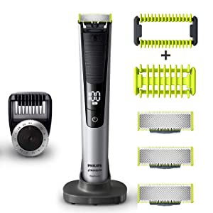 PHILIPS Norelco OneBlade Pro Kit, Hybrid Electric Trimmer and Shaver, QP6520 + OneBlade Body Kit, 3 pieces, Black, 1 Count