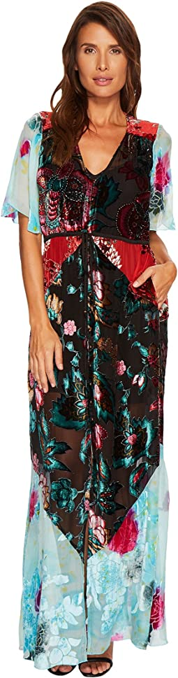 Hale Bob - Masterpiece Theatre Silk Velvet Burnout Off Maxi Dress