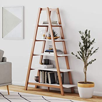 Nathan James Carlie 5-Shelf Bookcase Display or Decorative Storage Rack with Rove Wooden Ladder Shelves, White/Brown