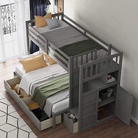 Amazon Com Twin Over Full Stairway Bunk Bed With Storage Top Unikes Wooded Bunk Bed Frame Separate To Upper Twin Bed And Bottom Full Bed Grey Kitchen Dining