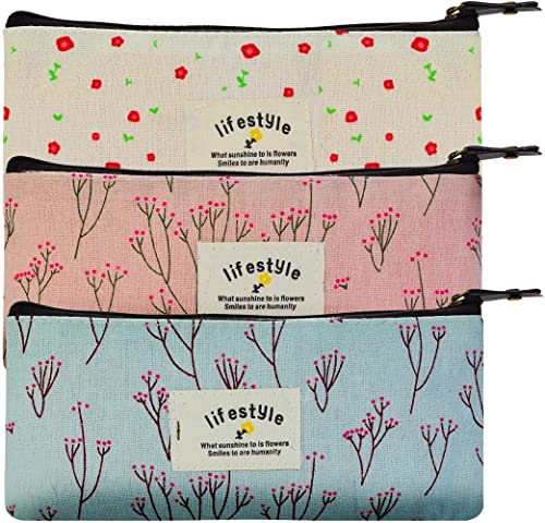 Sungpunet Countryside Flower Floral Pencil Pen Case Cosmetic Makeup Bag Set of 3 by Miayon