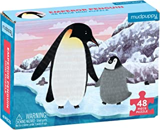 """Mudpuppy Emperor Penguin Mini Puzzle, 48 Pieces, 8"""" x 5.75"""" – Perfect Family Puzzle for Ages 4+ – Jigsaw Puzzle Featuring ..."""