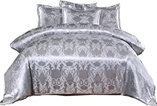 A Nice Night Bedding European Paisley Damask Design Jacquard Duvet Cover Set King,Silver