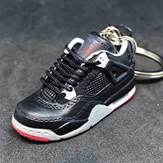Air jordan IV 4 Retro Bred Black Red Sneakers Shoes 3D Keychain