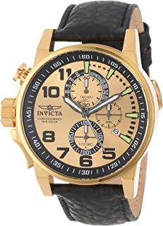 Men's 14475 I-Force Chronograph Gold Dial Black Leather Watch