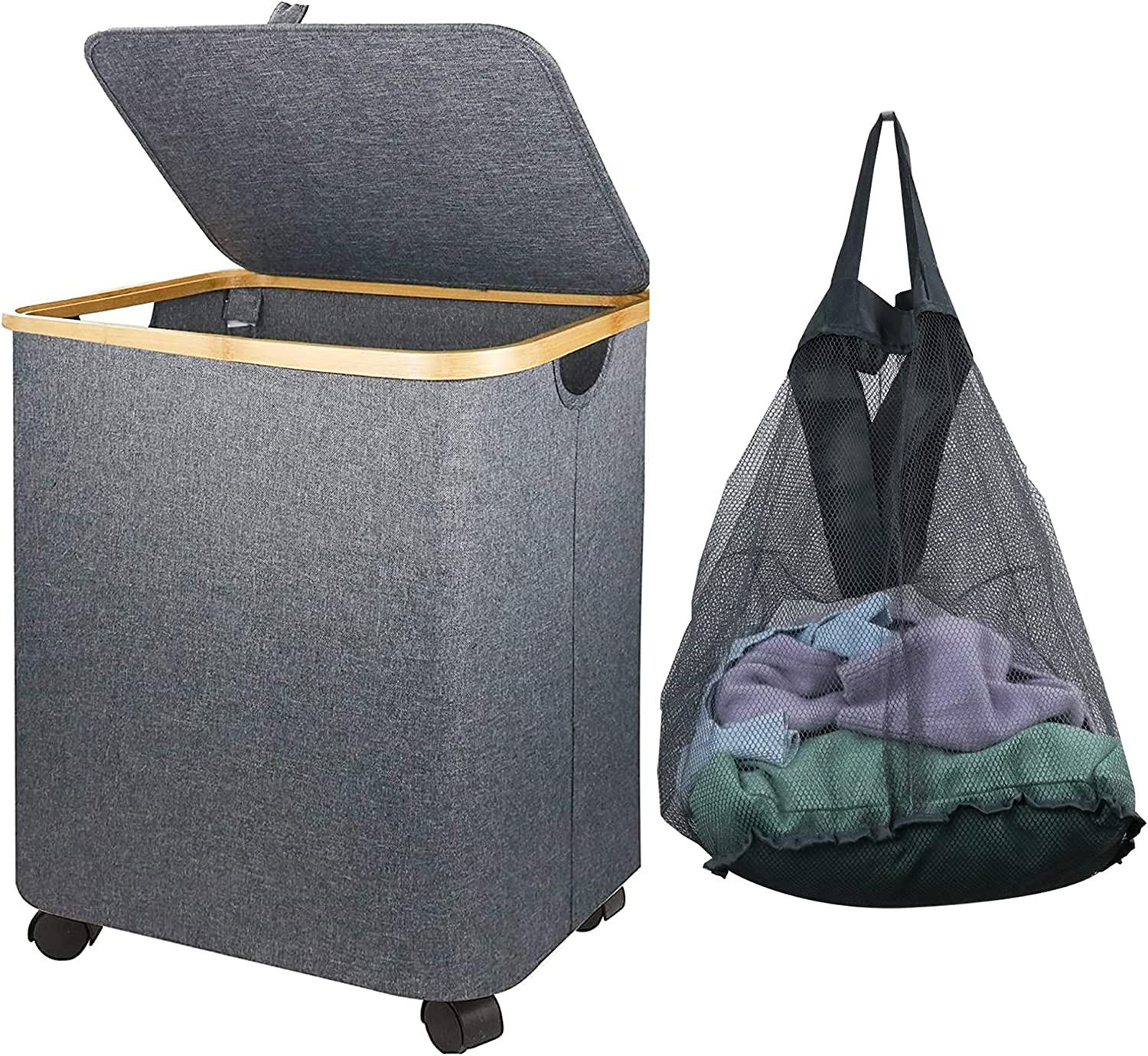 Large Free shipping New Laundry Hamper with Removable Mesh Guofa Bamboo L 79L Bag Direct store