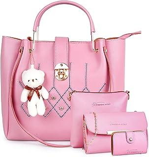 JFC Women's Handbag, Shoulder Bag With Sling bag ( Set of 3) (ST-001 SKY BLUE CHAIN FLAP CL_Beige)