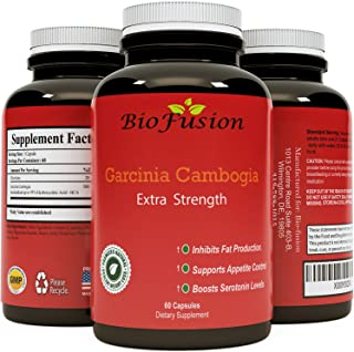 Biofusion Superior Potency Garcinia Cambogia Extra Strength Fat Burner Carb Blocker Appetite Suppressant Natural Weight Loss Supplement Pure Diet Pills for Men Women 60 Capsules