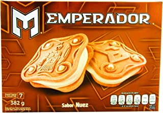 Gamesa Emperador Mexican Nut Sandwich Cookies. Delicious Crispy Outer and a Smooth Nut Center.1 box (7 packages) 382 Grams.