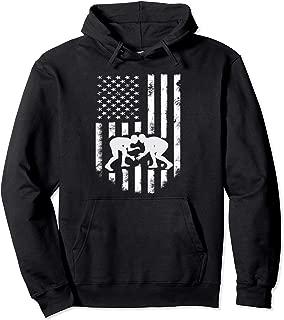 American Flag Wrestling Hoodie Distressed Wrestle Gift Tee