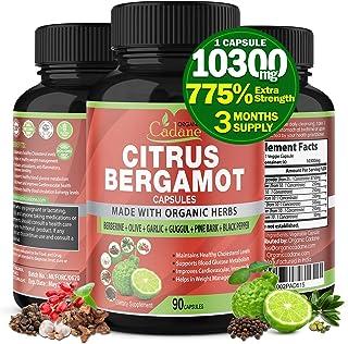 Citrus Bergamot Extract Capsules 10300mg & Berberine, Olive, Guggul, Garlic, Pine Bark, Black Pepper   High Cholesterol Le...