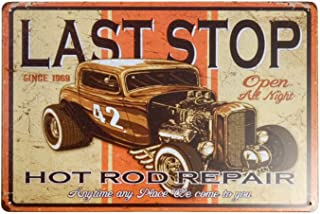 Bit LUCKTIN Hot Rod Rustic Wall Decor Metal Tin Sign Vintage Decor for Pub Funny Retro Wall Art Sign 12 X 8Inches