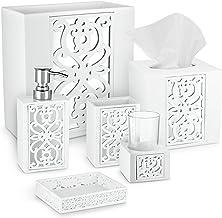 DWELLZA Mirror Janette Bathroom Accessories Set, 6 Piece Bath Set Collection Features Soap Dispenser, Toothbrush Holder, T...