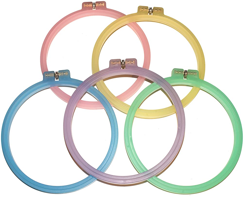 Celley 5 Pieces Embroidery Hoops Set | 6 Inch Cross Stitch Hoop Rings | (Exclusive) 5 Pastel Color Collection ga1726048