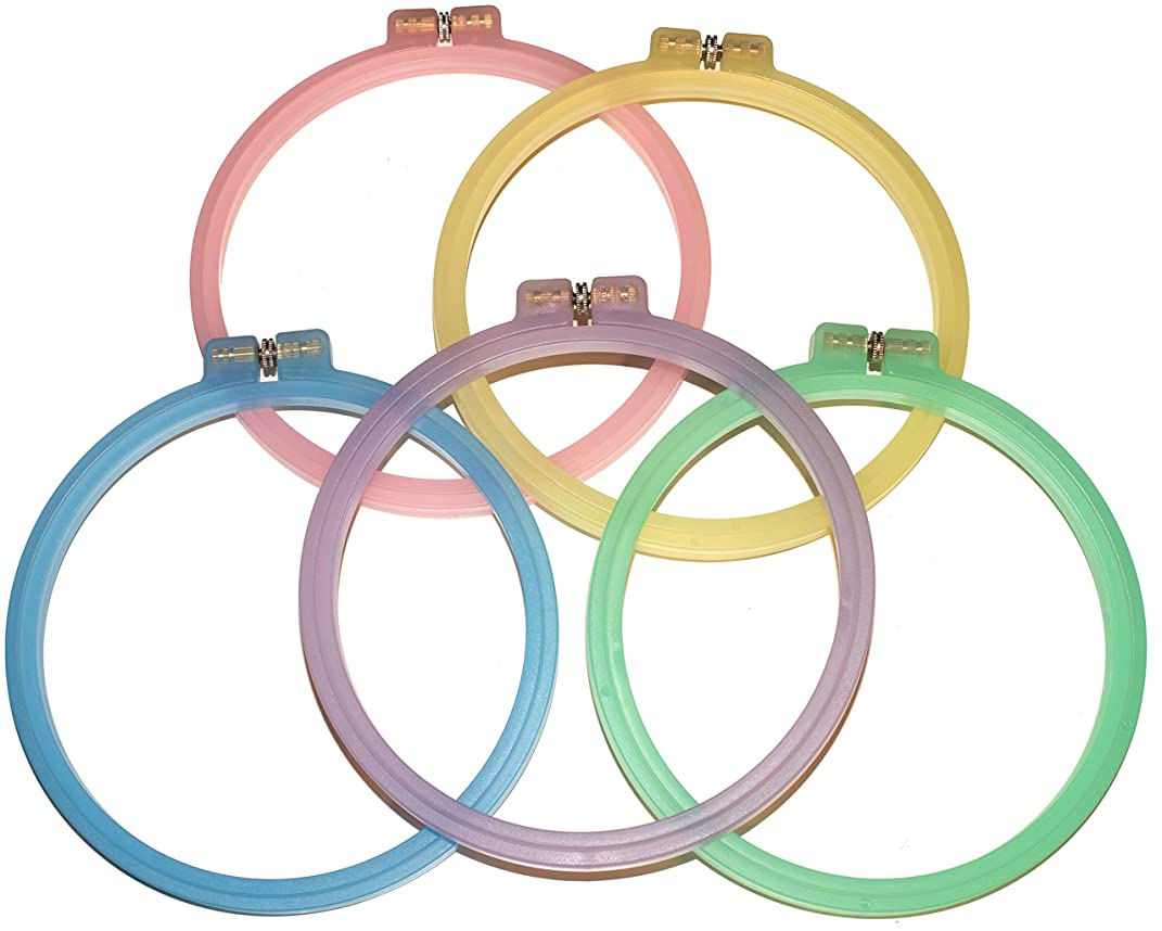 Celley 5 Pieces Embroidery Hoops Set | 6 Inch Cross Stitch Hoop Rings | (Exclusive) 5 Pastel Color Collection