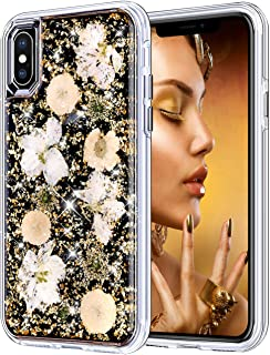Coolden Case for iPhone X Case iPhone Xs Glitter Case with Dried Natural Flower Cute Girly Durable Shockproof 2 Layers Solid PC TPU Cover Case for 5.8 Inches iPhone X 10 Xs, Gold