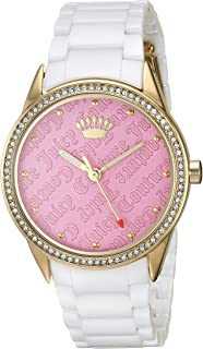 Juicy Couture Black Label Women's Swarovski Crystal Accented Gold-Tone and White Ceramic Bracelet Watch
