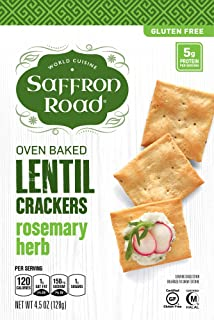 Saffron Road Lentil Crackers, Rosemary Herb, 4.5 Oz