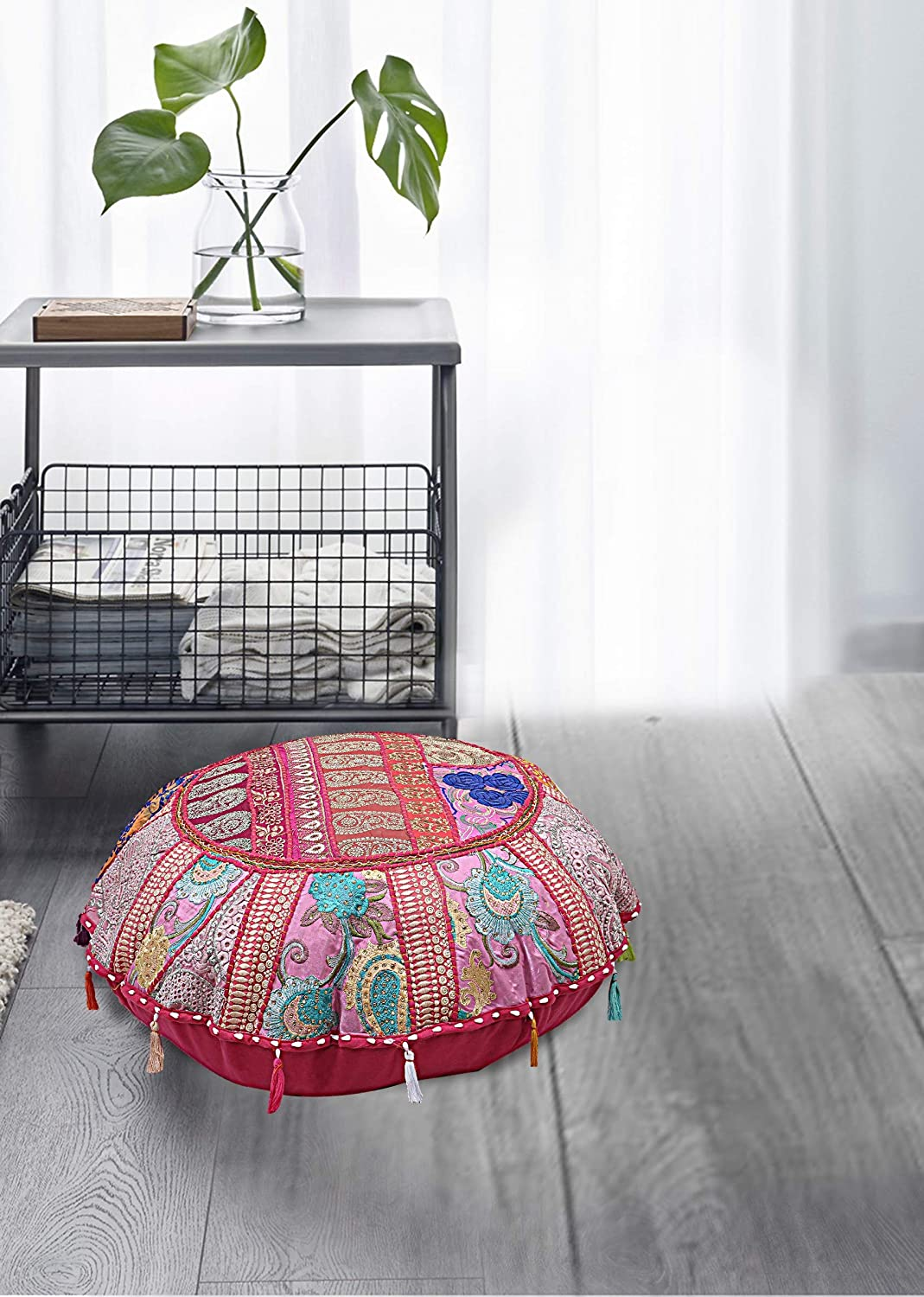 THE ART BOX Indian Vintage NEW before selling ☆ Round Super beauty product restock quality top Patchwork Ott 32inch Pouf Cover