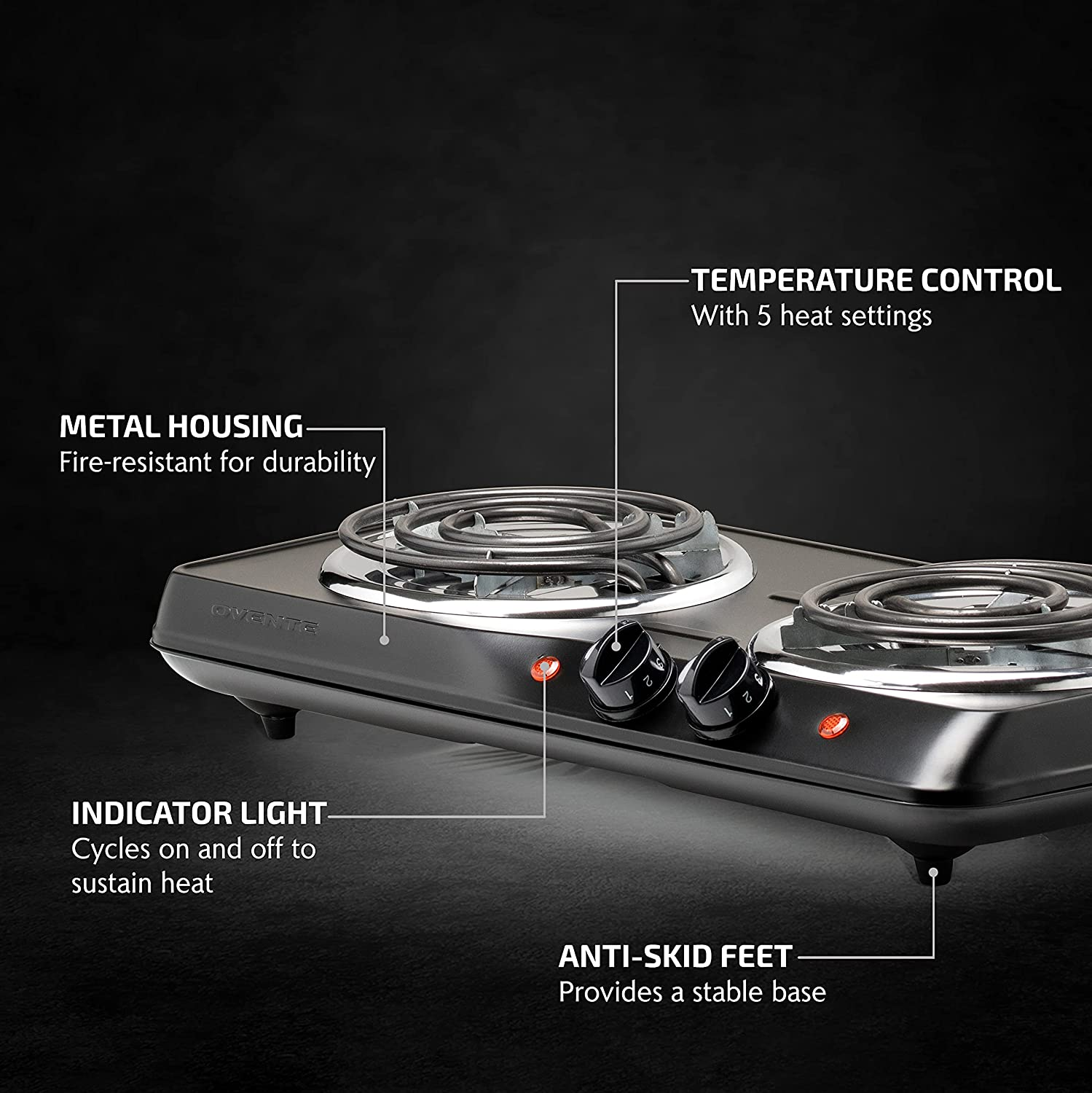 Ovente Electric Double Coil Burner 5.7 & 6 Inch Hot Plate Cooktop with Dual 5 Level Temperature Control & Easy Clean Stainless Steel Base, 1700W Portable Stove for Home Dorm Office, Black BGC102B : Appliances