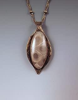 Michigan Petoskey Stone Necklace- Smoky Bronze Patina- Michigan Made- Michigan State Stone- Fossil- Metal Art Petoskey Necklace