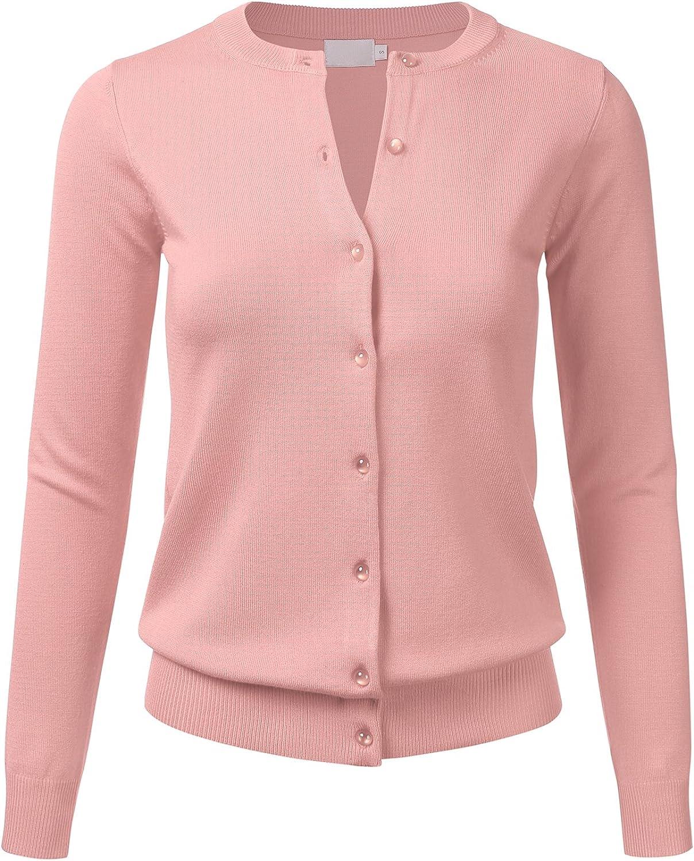 FLORIA Women's Gem Button Crew Neck Long Sleeve Soft Knit Cardigan Sweater Dustypink L