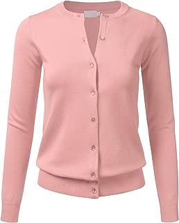 Women Gem Button Crew Neck Long Sleeve Soft Knit Cardigan Sweater (S-3XL)