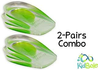2 Pack - KidSole Shock Absorbing Lightweight Gel Heel Cups For Kid's With Sensitive Heels, Heel Spurs, Plantar Fasciitis, or Ankle Pain (Green Kids Size 2-6)