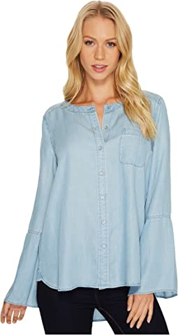 TWO by Vince Camuto Bell Sleeve Indigo Tencel Collarless Shirt