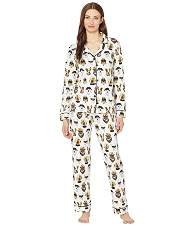 BedHead Pajamas Long Sleeve Classic Notch Collar Pajama Set (Celebrity Pups) Women