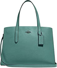 Coach Charlie Pebbled Leather Carryall Satchel in Dark Turquoise