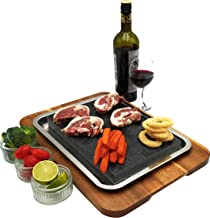 "Steak Stone Set - 17.2 x 12"" Acacia Wood Tray, 11.6 x 7.7 x 1.2"" Granite Lava Rock & a Stainless-Steel Juice Catching Pan. XL Size Hibachi Style Cooking, Dinner Parties. Hot & Cold Dishes. Gift Idea"