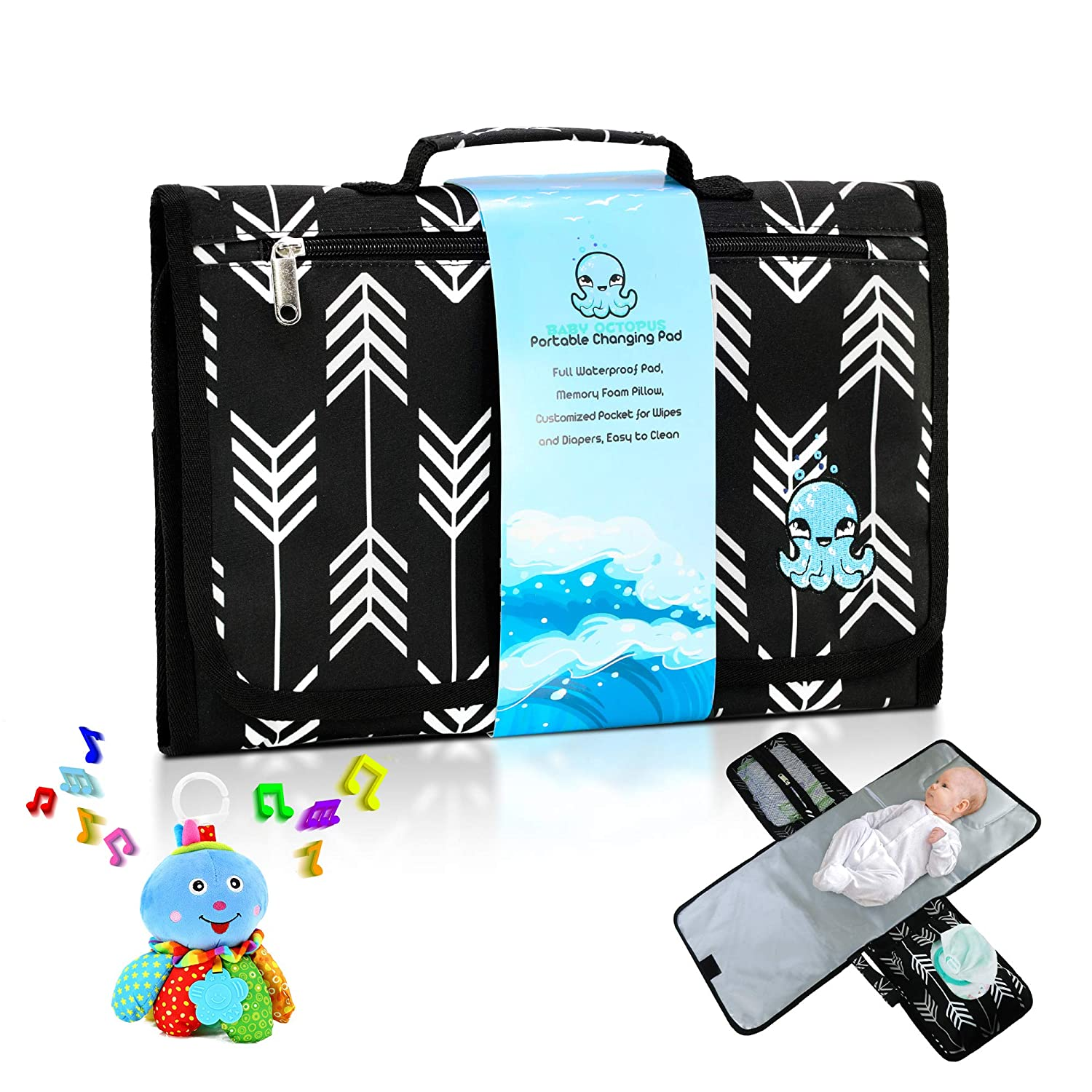 Portable Baby Changing Pad + Octopus Toy Bundle - Large Waterproof Diaper Changing Table Contoured Mattress with Soft Memory Foam Pillow – Travel-Friendly Infant Change Station Mat Set for Mom & Dad
