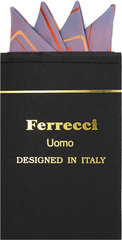 Ferrecci Pre Folded Microfiber Geometric Pocket Square - Available in Many Styles