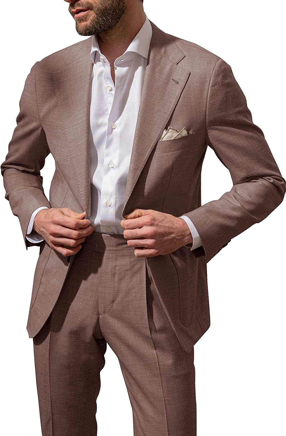 Mens Stretch Slim Fit Blazer Classic-fit Business Suit Button-Front Casual Jacket Long Sleeve Coat