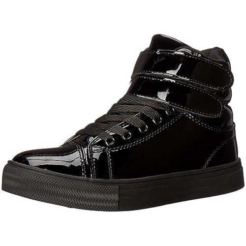 Alexandra Collection Womens Liquid Shiny High Top Hip Hop Dance Sneakers  Black 305630f36