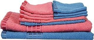 Eurospa Set of 10 Cotton Bath + Hand + Face Towel Set Assorted