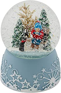 Roman Ice Skating Child With Hot Drink 6 Inch Musical Glitter Globe Playing The Tune Jingle Bells
