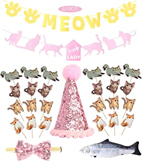 Cat Birthday Party Supplies | Kitty Kitten Birthday Party Supplies Decorations Kit | Cute 24 PCS Cat Cake Cupcake Toppers Picks| Cat Birthday Adjustable Hat and Bow| Kitty Cat Themed Parties (Pink)